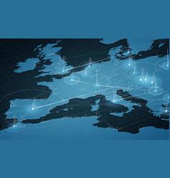 Europe blue map big data vector