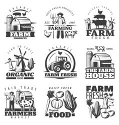 Farm House Emblems Set vector