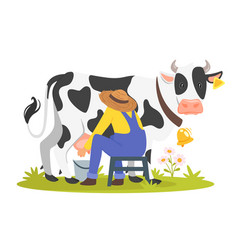 farmer milking a cow vector image