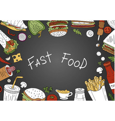 fast food background top view on black background vector image