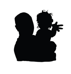 Father with baby girl black vector
