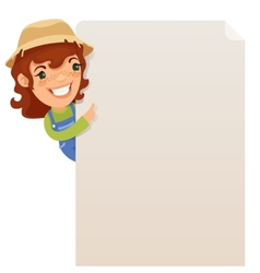 Female Farmer looking at blank poster vector