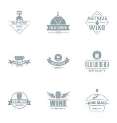 Finest wine logo set simple style vector