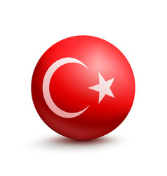 flag of turkey in the form of a ball vector image