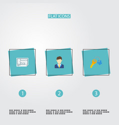 Flat icons blueprint broker trinket and other vector