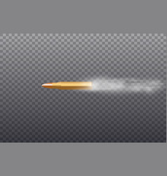 flying bullet with dust trail isolated on black vector image