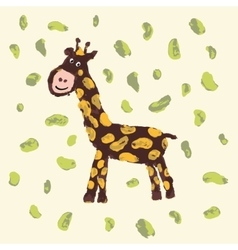 Giraffe with smile Child drawing vector