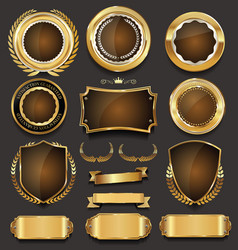 Golden sale frame badge and label collection 2 vector
