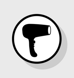 hair dryer sign flat black icon in white vector image