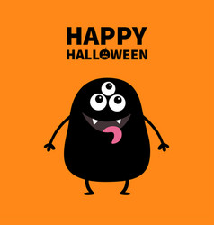 happy halloween card black monster silhouette vector image