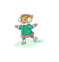 happy little girl ice skating winter sport vector image