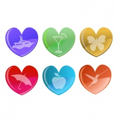 hearts icon set vector image vector image
