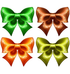 Holiday bows with glitter vector image
