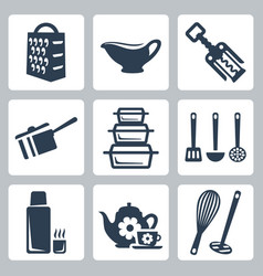 Isolated kitchenware icons set grater sauceboat vector
