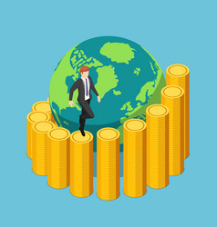 isometric businessman climbing a spiral coin vector image