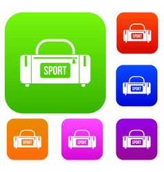 large sports bag set collection vector image
