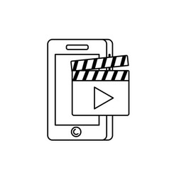 Line smartphone technology with clapperboard video vector