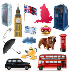 London england icons set vector