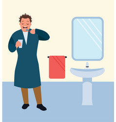 man brushing his teeth in bathroom vector image