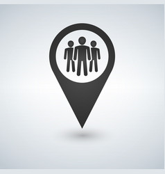 Map pin icon with group people vector