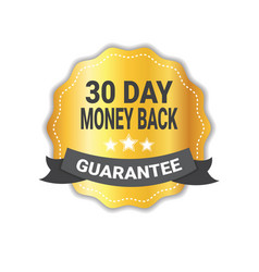 money back in 30 days guarantee sticker golden vector image