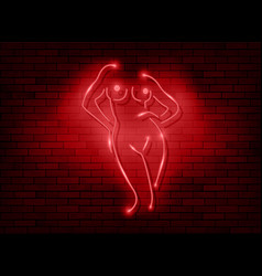 neon sign striptease neon silhouette naked girl vector image