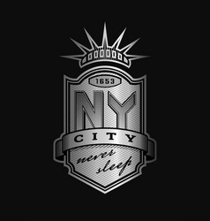 New york city emblem vintage style on a dark vector