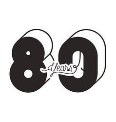 number 80 for anniversary celebration card icon vector image