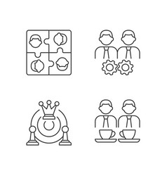 Office members interaction linear icons set vector