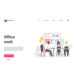 office teamwork landing page business people on vector image