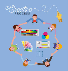 people working creative process vector image