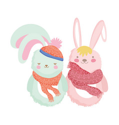 pink and white rabbits with hat and scarf vector image