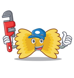Plumber farfalle pasta mascot cartoon vector