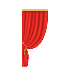 Red theater curtain open on one side vector