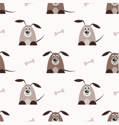 seamless pattern with brown dogs and bones vector image