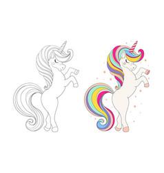 set cute unicorns colored cartoon character vector image