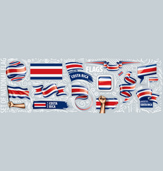 Set national flag costa rica in vector