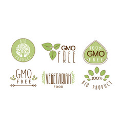 Set of colorful food emblems with text gmo vector