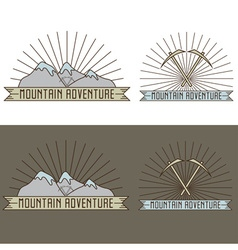 set of vintage line craft labels mountain vector image