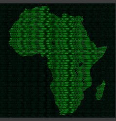 Silhouette of africa from binary digits on vector