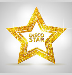Silhouette of gold disco star sign vector