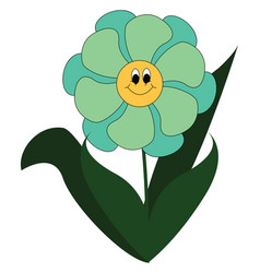simple cartoon a smiling blue flower with vector image