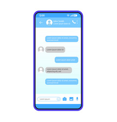Smartphone chat interface template vector