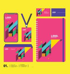 Stationery corporate brand identity mockup set vector