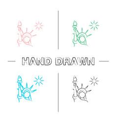 statue liberty hand drawn icons set vector image
