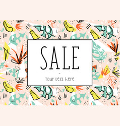 summer sale template tropical leaves vector image