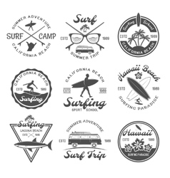 Surfing Emblem Set vector image