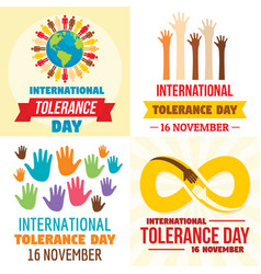 Tolerance day banner set flat style vector