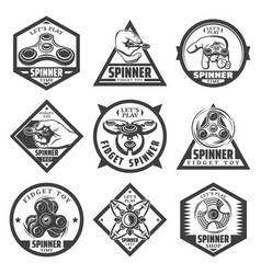 vintage popular spinner labels set vector image