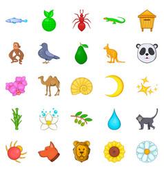 virgin nature icons set cartoon style vector image